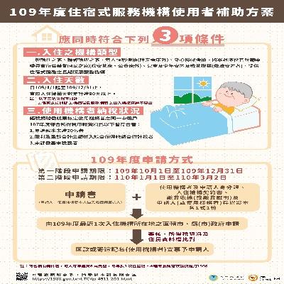109年度住宿式機構使用者補助方案即日起受理申請