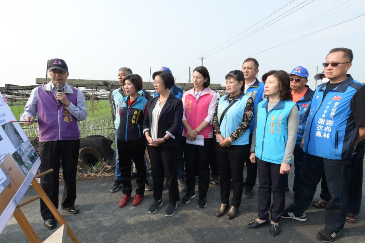 向中央爭取核定改善區排1.45億元 王縣長視察溪湖地區水利建設,指示加速治理腳步、打通排水瓶頸