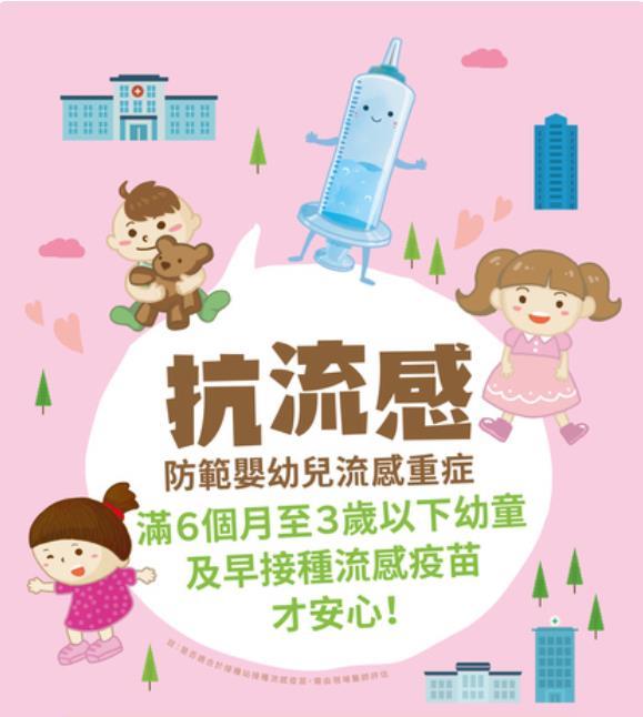 彰化縣開放6個月至入學前幼兒至本縣81家幼兒常規疫苗合約院所接種公費流感疫苗