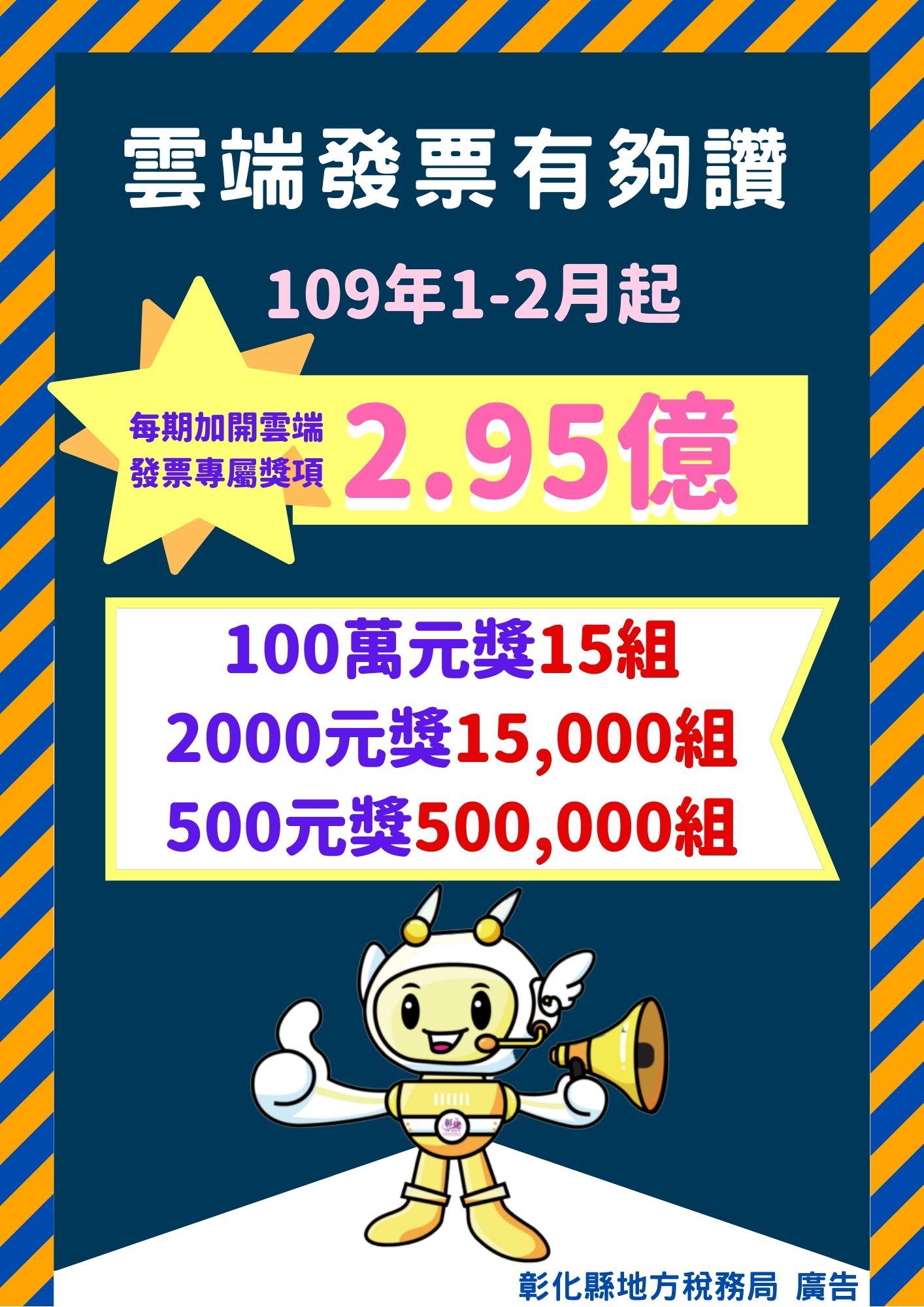 雲端發票500元專屬獎 加碼增至50萬組